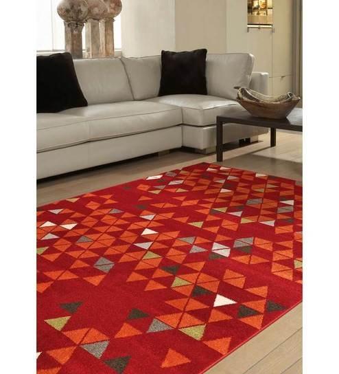 Ambadi Nova Red Polypropylene Modern Carpet