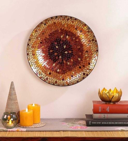 Amber & Gold Metal & Glass Mosaic Wall Art Decor