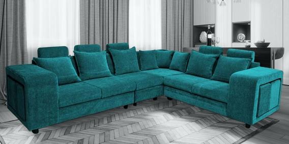 Amanda Corner Sofa In Turquoise, Turquoise Living Room Furniture