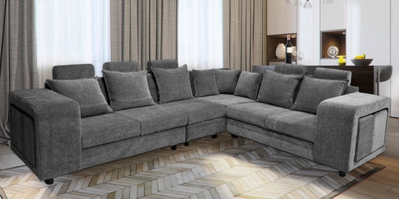 Amanda Corner Sofa in Dark Grey Colour by Primrose