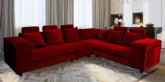 Miraculous Amanda Corner Sofa In Maroon Colour By Primrose Andrewgaddart Wooden Chair Designs For Living Room Andrewgaddartcom