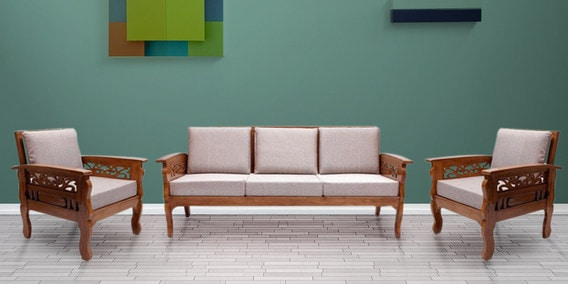 Amherst Teak Wood Sofa Set 3 1 1 Seater In Natural Teak Finish By Finesse