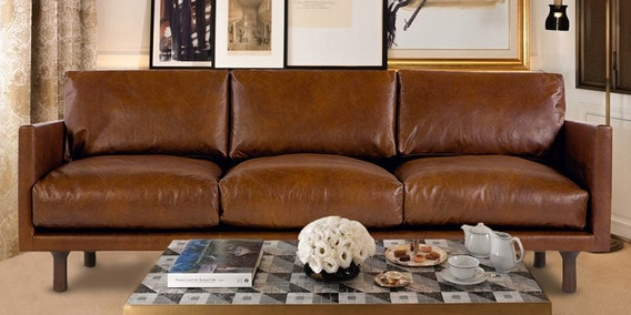 Amigo Three Seater Upholstered Sofa In Tan Brown Leatherette By Dreamzz  Furniture