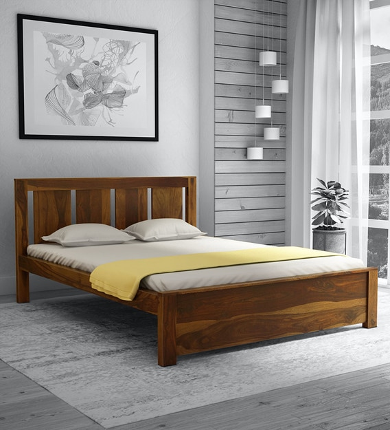 Amarillo Solid Wood Queen Size Bed, Solid Wood Queen Bed