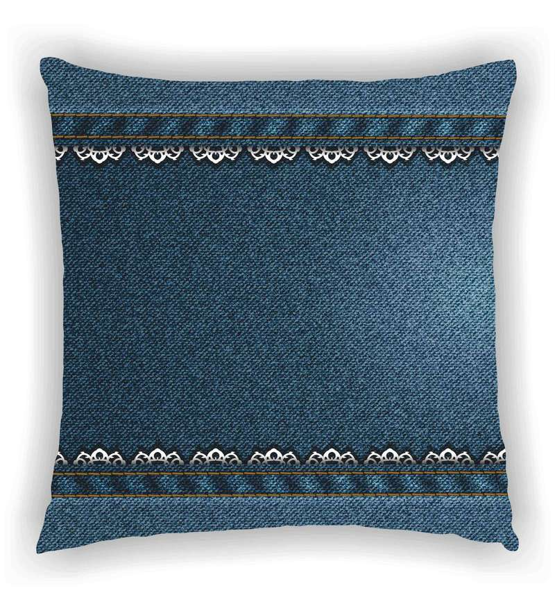Multicolour Satin 16 x 16 Inch Denim Look with Lace Look On Both Ends Cushion Cover by Ambbi Collections