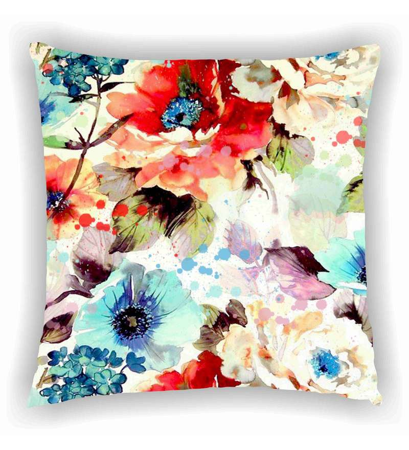 Multicolour Satin 16 x 16 Inch Digital Printed with Effect Floral Cushion Cover by Ambbi Collections
