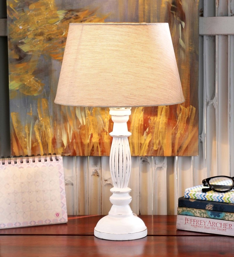 Amelia Table Lamp in White by Amberville.
