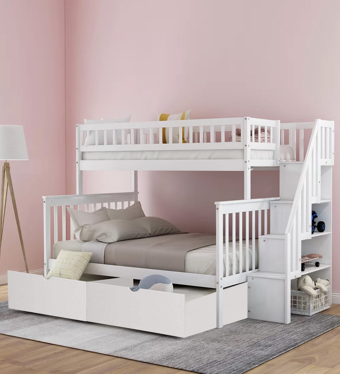 Picture of: Buy Farmhouse Pine Wood Bunk Bed With Trundle Storage In White By Casacraft Online Trundle Bunk Beds Bunk Beds Kids Furniture Pepperfry Product
