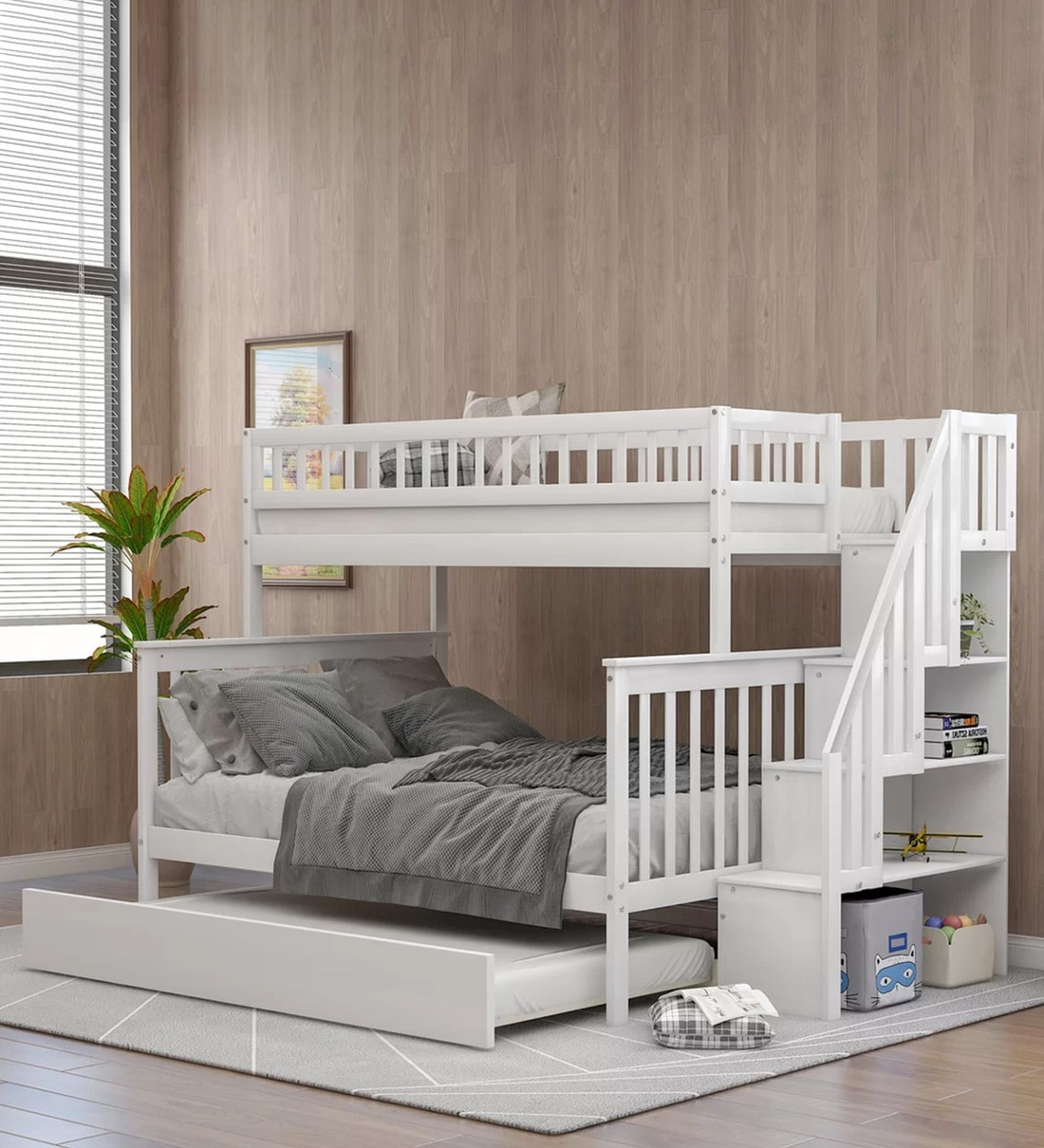 Buy Farmhouse Pine Wood Trundle Bunk Bed In White By Casacraft Online Trundle Bunk Beds Bunk Beds Kids Furniture Pepperfry Product