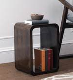 Ancona Small Cubic End Table in Walnut Finish