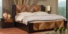 Anahi Queen Size Bed in Natural And Americano Finish