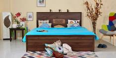Andorra Queen Bed with Storage in Columbia Walnut Finish