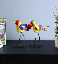 Craftpreneurs India Multicolour Iron Bird Wall Hanging - Set Of 2