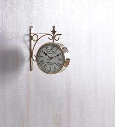 anantaran gold yellow brass double side railway clock
