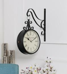Anantaran Black Metal 11.3 X 4 X 13.8 Inch Franklin Murphy Double Side Station Wall Clock