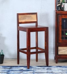 Anitz Solidwood Bar Chair In Dual Tone(Honey Oak & Natural) Finish