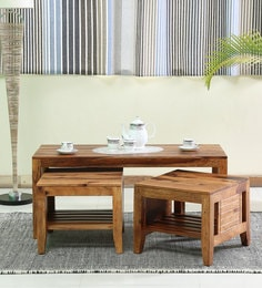 Anitz Solid Wood Coffee Table With Two Stools In Warm Walnut Finish