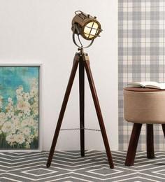 Antique Gold Aluminium Tripod Floor Lamp