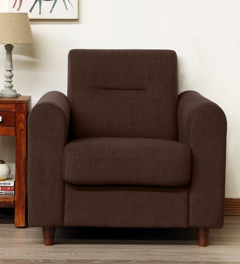Buy Ana One Seater Sofa In Chestnut Brown Colour By Mintwud Online