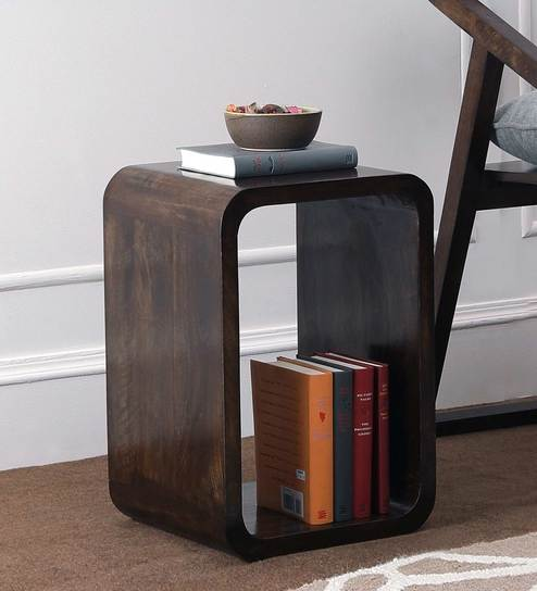 Beautiful Cubic Wood End Table in Walnut Finish