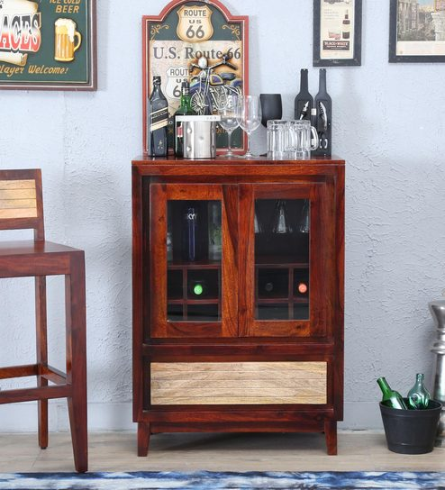 Anitz Bar Cabinet In Dual Tone Finish