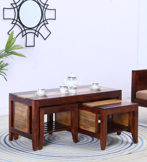 Anitz Solid Wood Coffee Table With Two Stools In Dual Tone Honey Oak Natural