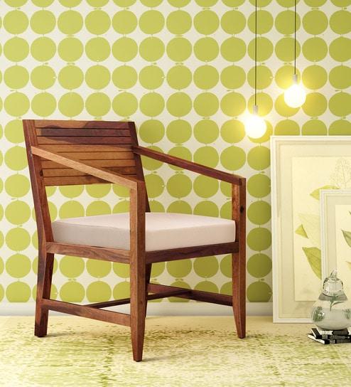 Buy Anitz Solid Wood Arm Chair In Warm Walnut Finish By Woodsworth