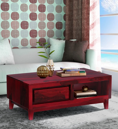 Marvelous Anitz Solid Wood Coffee Table In Spicy Red Finish By Woodsworth Home Interior And Landscaping Sapresignezvosmurscom