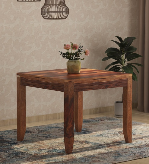 Buy Anitz Solid Wood Four Seater Dining Table In Warm Walnut Finish