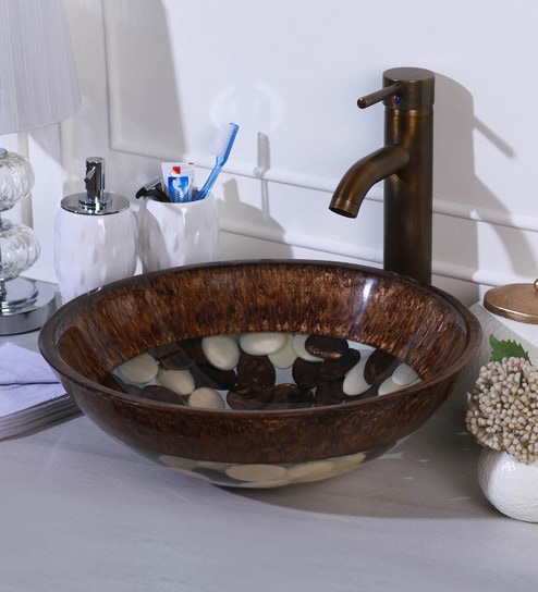 Ankur Bath Artificial Pebble Brown And Ivory Resin Wash Basin