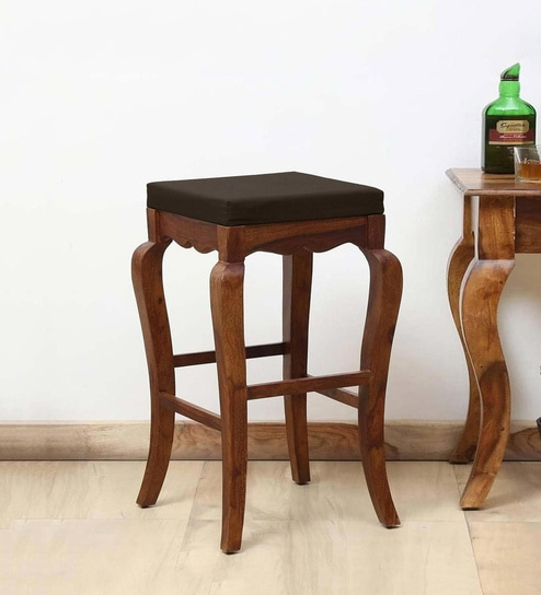 Incredible Anne Solid Wood Bar Stool In Provincial Teak Finish By Amberville Creativecarmelina Interior Chair Design Creativecarmelinacom