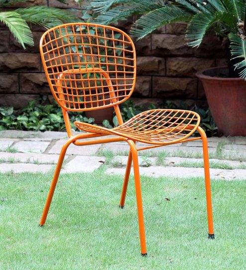 Annette Metal Chair In Orange Colour By Bohemiana