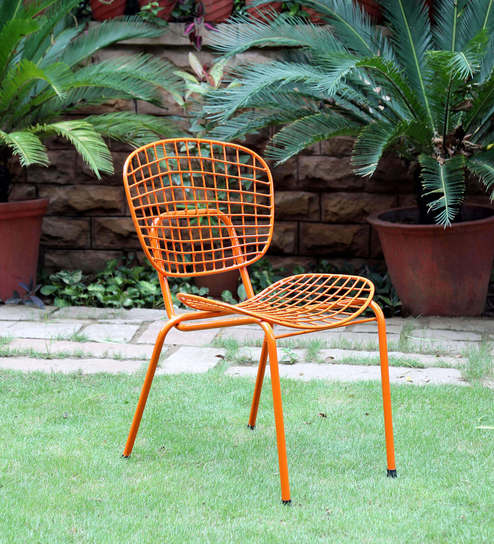 Annette Metal Chair in Orange Color by Bohemiana