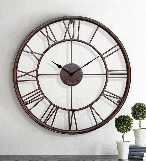 Antique Dark Copper Decorative Iron Metal Wall Clock Without Gl By Craftel