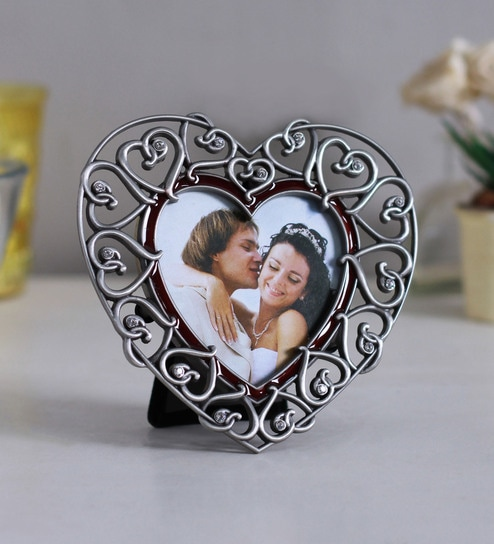 Buy Antique Silver Alloy 55 X 1 X 55 Inch Heart Shaped Photo Frame