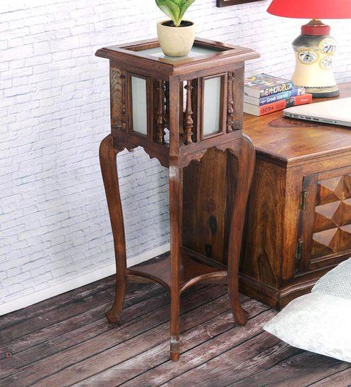 Antique Teak Wood End Table By Vareesha
