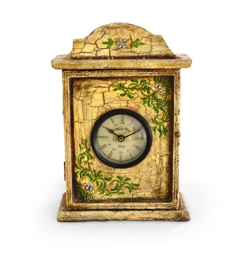 Antique Wooden Table Clock Cum Key Box By Market Finds Online