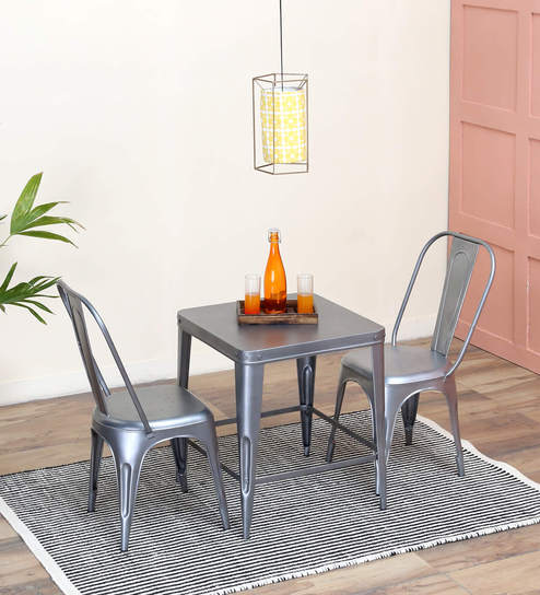 Anvil Two Seater Dining Set In Zinc Color By Bohemiana