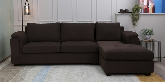Andres Lhs 3 Seater Sofa With Lounger In Chestnut Brown Colour By Woodsworth