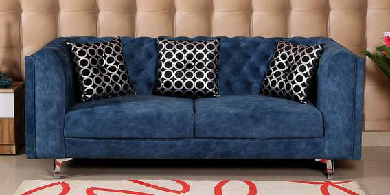 Anthony Three Seater Fabric Sofa in Navy Blue by Hollywood Furniture