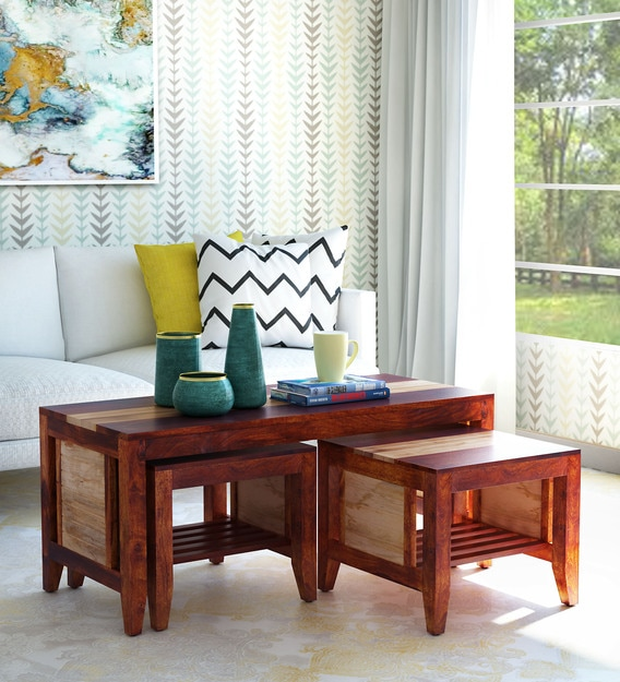 Buy Anitz Solid Wood Nesting Coffee Table Set In Dual Tone Finish Woodsworth By Pepperfry Online Nesting Coffee Tables Sets Tables Furniture Pepperfry Product