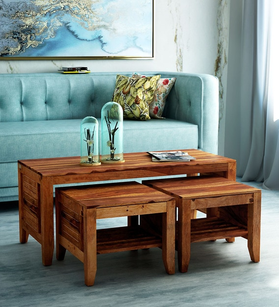 Buy Anitz Solid Wood Nesting Coffee Table Set In Warm Walnut Finish Woodsworth By Pepperfry Online Nesting Coffee Tables Sets Tables Furniture Pepperfry Product