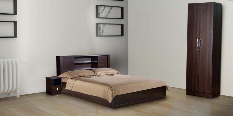 Aneko Bedroom Set ( Queen Bed with Two Door Wardrobe & Night Stand ) in Wenge Finish by Mintwud