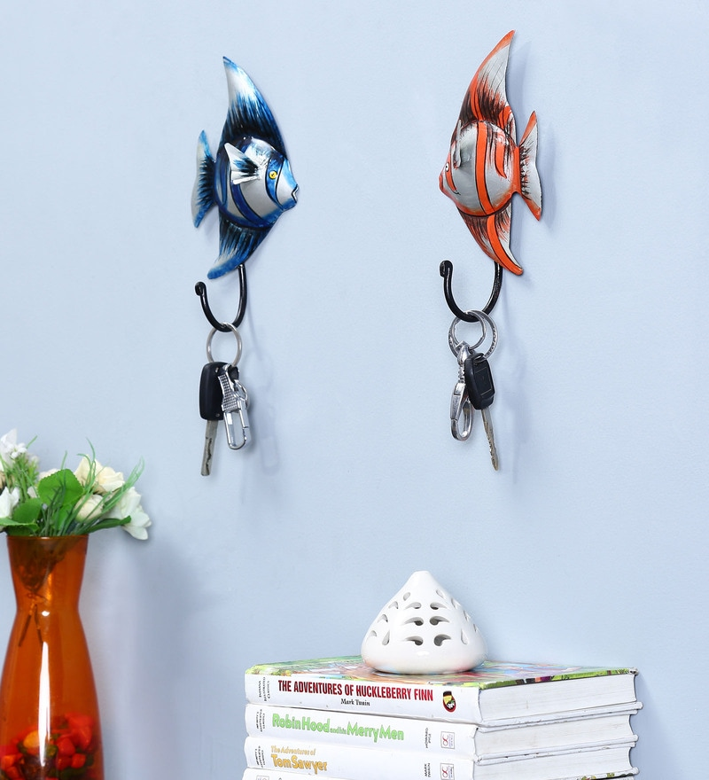 Multicolour Iron Fish Hook - Set of 2 by Craftpreneurs India