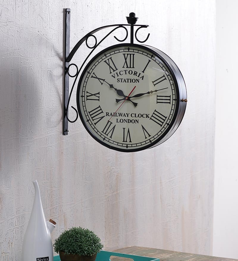 Victoria 12 Inch Two Side Railway Clock Wall Clock by Anantaran