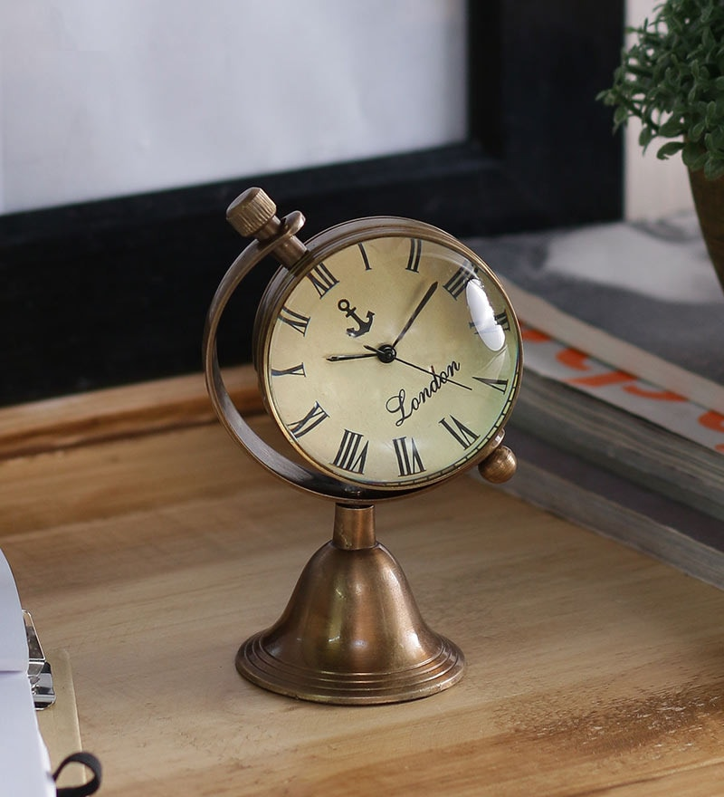 Buy Brass Finish Brass 2 Inch Table Clock By Anantaran