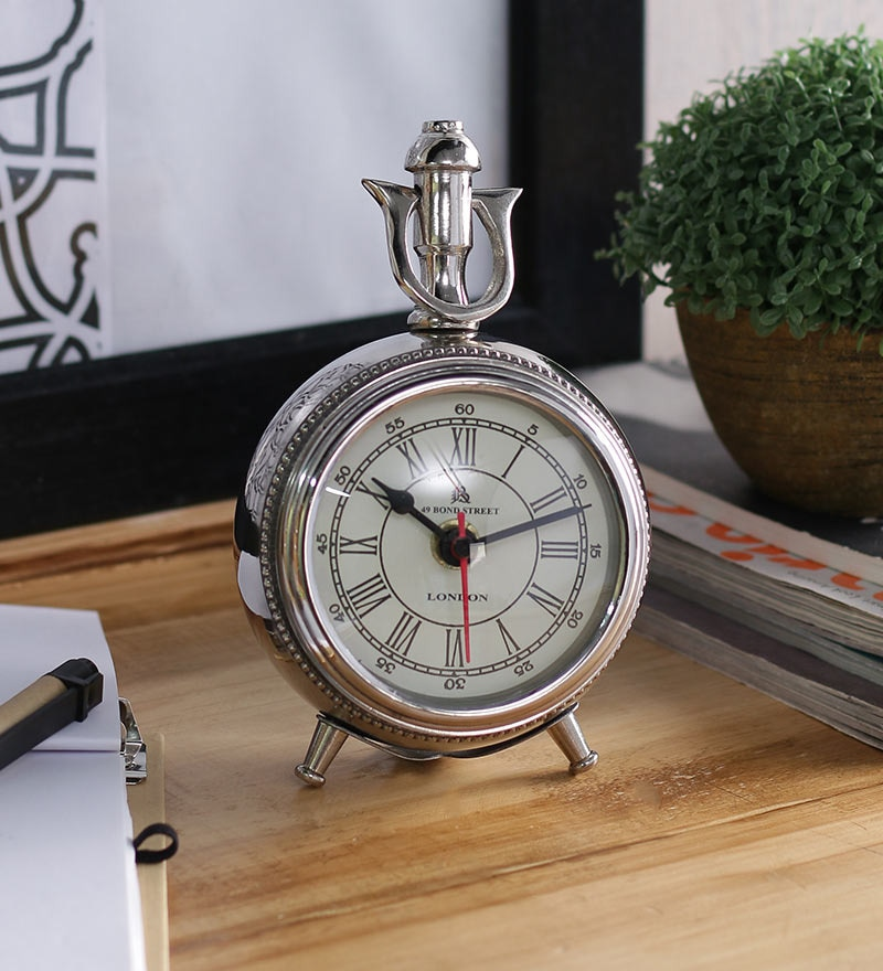 Anantaran Silver Aluminium Stylish Table Clock