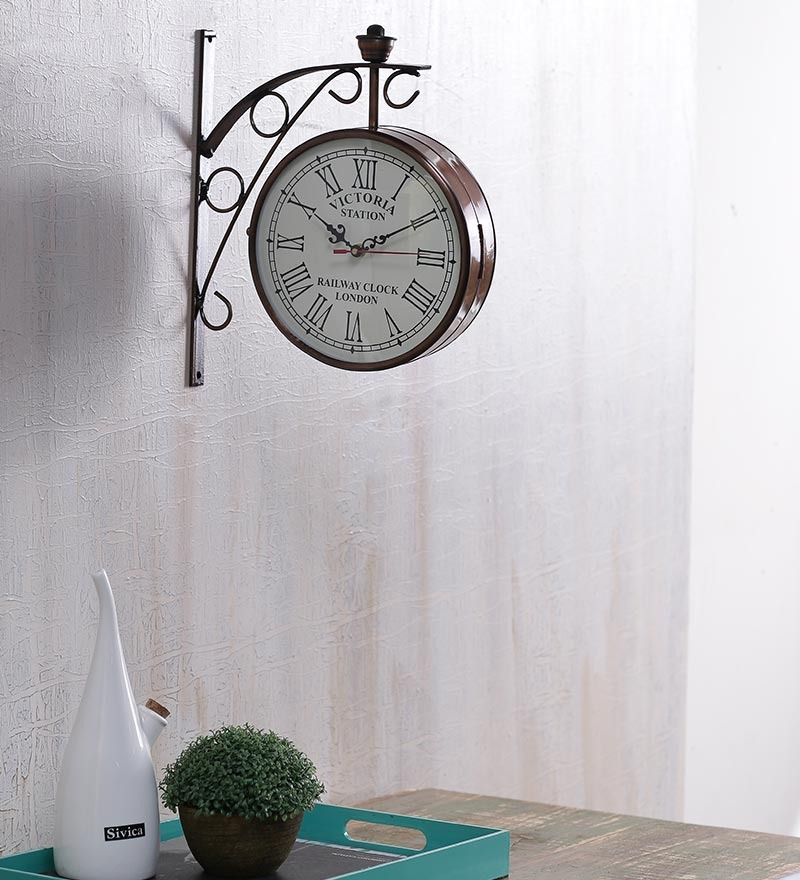 Copper Iron 8 Inch Two Sided Railway Clock by Anantaran