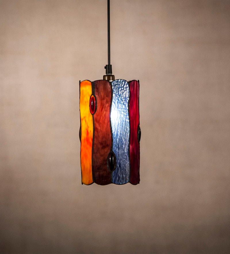 Multicolour Tiffany Glass 40W Pendant by Anemos