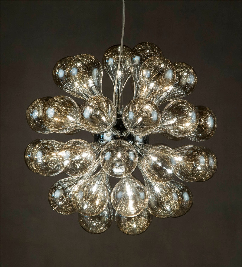 Transparent Metal & Glass Chandelier by Anemos